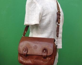 Yacht Bag | Shoulderbag vintage | Leather and Canvas bag | Leather shoulder bag | Vintage leather bag | Original bag in Tan