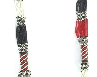 Beaded necklace, Multi strands necklace, Handmade beaded necklace, African necklace, Zulu necklace, Gift for her, statement necklace,