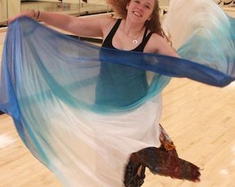 PETITE Ocean Icing Blue and White Silk Bellydance Veil, bellydance costume