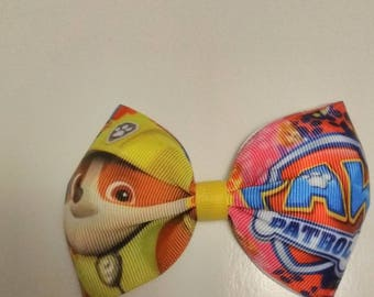Paw Patrol inspired hair bows, Paw patrol inspired pigtail bow, character hair bow, birthday bows, paw patrol pinch bow, Rubble hair bow