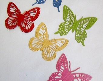 5 papillons en papier irisé en 5 couleurs