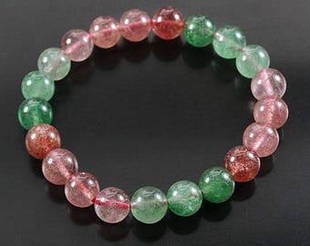 Rutilated Quartz Bead Bracelet Natural Polished Strawberry and Green Gemstone Jewelry CIE56