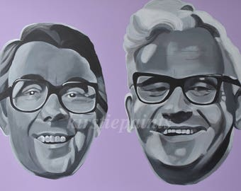 The two Ronnies, Ronnie Barker, Ronnie Corbett, fine art print, comedy, pop art retro art