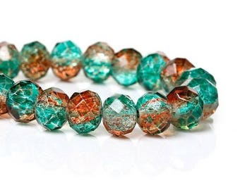 10 faceted 8 mm Green ORANGE Crackle glass beads