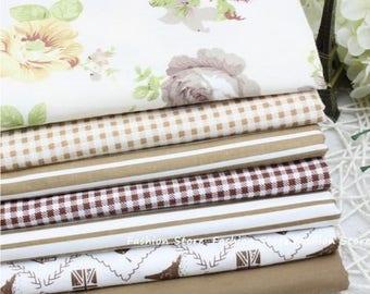 7 coupons fabric patchwork/seam 40 x 50 cm 181016 brown tones