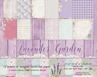 Two pockets AND YOU 30.5 CRAFT paper 12 cm LAVENDER GARDEN