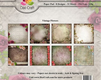two pockets 15 x 15 cm DIXI CRAFT FLOWERS VINTAGE 32 papers