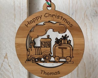 Personalised train christmas bauble, personalised christmas decoration, train decoration, christmas tree decoration, wooden bauble
