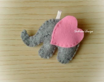 Elephant felt favor baptism baby shower favors birthday favors felt favors elephant keychain