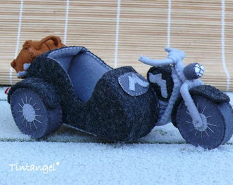 Motorcycle with sidecar - PDF pattern - instand download