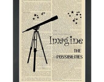 Inspirational Imagine Telescope Dictionary Art Print