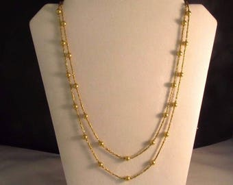 """Vintage 14K Solid Gold Bead Necklace Many Styles, Very Long, 46"""" L - #810"""