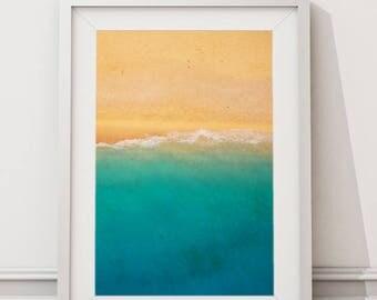 Coastal Beach Aerial Photography, Large Printable Modern Minimalist Art, Coastal Wall Art Decor Prints, Clear Blue Sea and Soft Sand