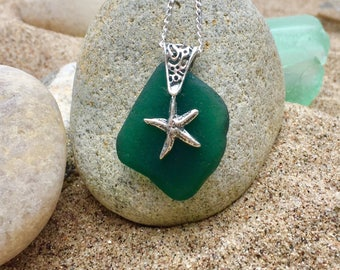 Teal green pure seaglass pendant