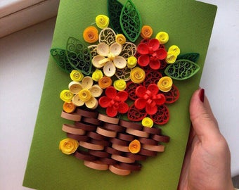 Quilling card  ''Flowers''