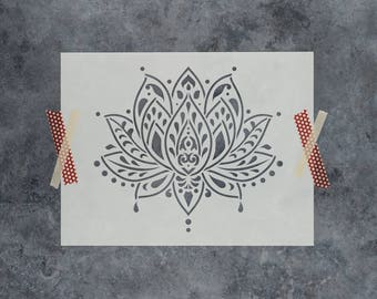 Sacred Lotus Flower Stencil - Reusable DIY Craft Stencils of Sacred Lotus Flower