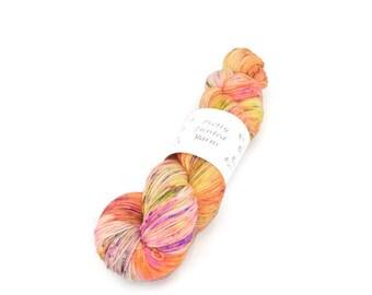 Hand Dyed Yarn, Indie Dyed Yarn, Superwash Merino, Nylon, Stellina, 2-ply, Sock Weight, Variegated, Speckled, Neon, Knitting, Crochet