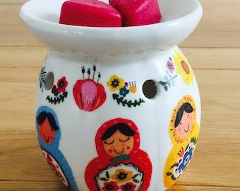 Handmade Matryoscha Russian Doll Wax Oul Burner Ceramic