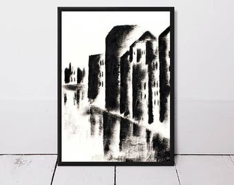Wall art, monochrome wall art, black and white print, original painting, abstract art, abstract painting, fine art print, contemporary art