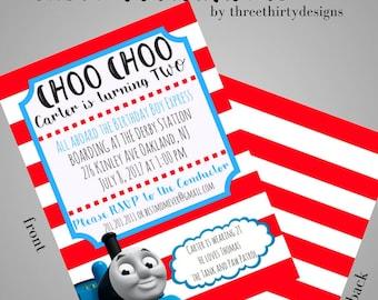 Thomas the Tank Birthday Invitation, Choo Choo I'm Two, Thomas and Friends, 1st Birthday Invitation, Boy invitation