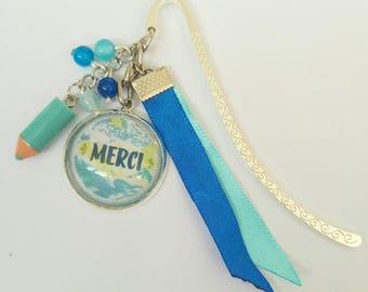 "Bookmark blue ღ ღ slogan ""Merci"""