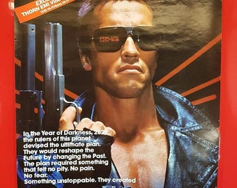SALE 1980's Terminator Movie Poster / Antique The Terminator Movie Advert Poster Arnold Schwarzenegger Pop Culture Collectible Movie Poster