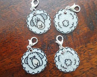 Sheep Progress Keeper / Front and Back Stitch Marker Knitting / Crochet/ Charm / Zipper Pull