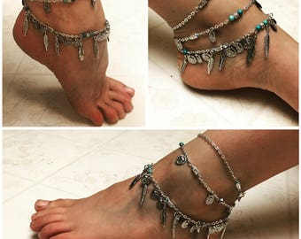 Gypsy Feather Coin Anklet