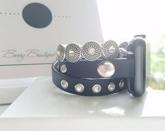 Apple Watch Band 38 mm, Apple Watch Band, Apple Watch Band 42 mm, Apple Watch Series 3, Leather and Black Beaded Band, Wrap Bracelet