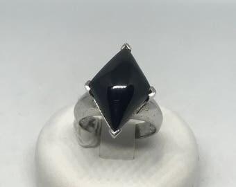 Square black spinel sliver ring