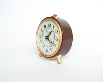 Working alarm clock VITYAZ Vintage russian mechanical clock Brown alarm clock VITYAZ Soviet alarm clock USSR desk clock Office decor