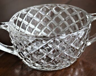 Vintage Cut Glass Sugar Bowl with Handles