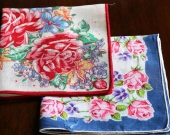 Red & Blue Vintage Handkerchiefs - Set of 2