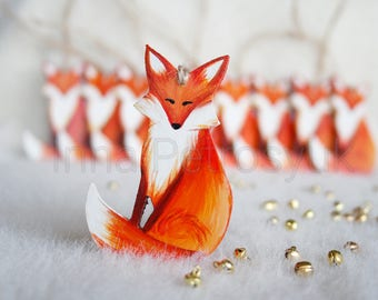 Wooden Christmas Fox. Wooden handmade Fox. Christmas ornaments. Handmade Christmas tree ornaments. Christmas tree ornaments. Xmas decor