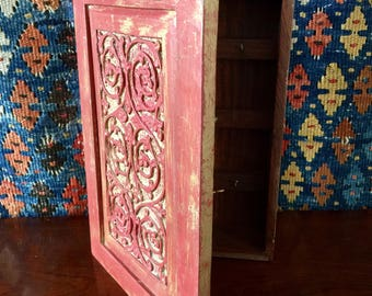 Vintage carved wooden rustic key cabinet box with wall hanging brackets