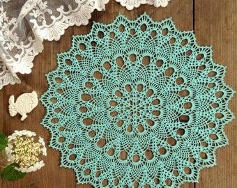 Doily crochet doily Round  turquoise doily Crocheted doily Lace doily Gift idea