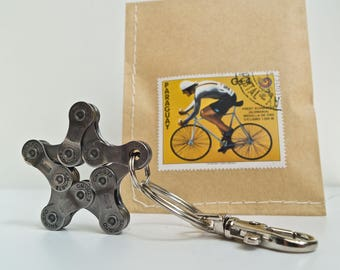 Upcycling Bike Keychain Pendant  Star