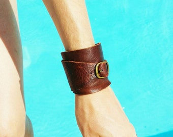 Adjustable Leather cuff with buckle