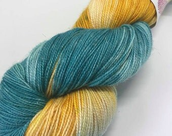 Hand Dyed Sparkle Yarn Oddball Variegated Teal and Golden Yellow 100g/ 400m sock 4Ply fingering 75% Superwash Merino Mulesing Free