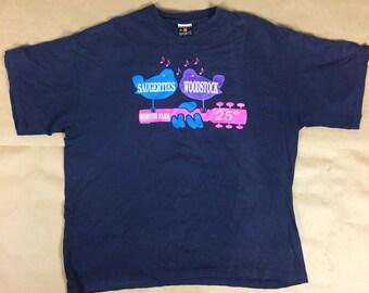 Woodstock Shirt 1994 Saugerties Winston Farm Size XXL Navy Blue 25th Music Concert 90s