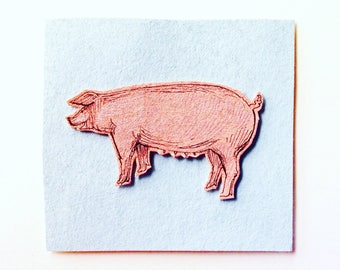 Handmade Ink Pen Card, Pig