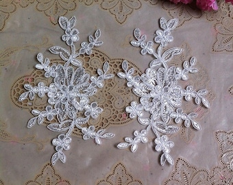 1 Pair Bridal Lace Applique DIY Trim Appliques in Bleached White for   Weddings, Sashes, Veils, Headpieces, WL1764