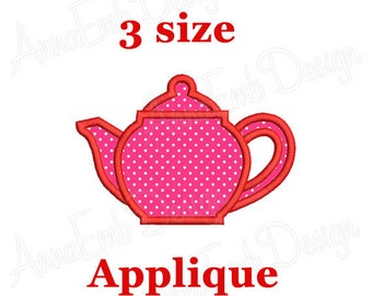 Teapot Applique Embroidery Design. Teapot Embroidery Design. Tea time design. Kitchen embroidery designs. Machine embroidery designs.