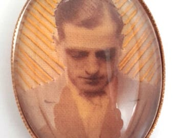 Luis Bunuel hand embroidered brooch