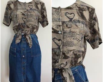 Silk Printed Artsy Shirt Tie Waist Romantic Hearts Journal Vintage Blouse Shirt Short Sleeves 80s 90s Cursive Text Writing Size Small Medium