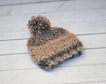 knitted 0-3m baby boy hat with pom pom, knitted baby shower gift