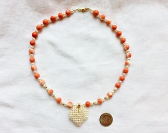 "Estate 14k Gold Coral Pearl Necklace Choker Heart Pendant 15"" Genuine Round Salmon Coral Balls 14 K Kt 14kt Safety Clasp Sphere Vintage"
