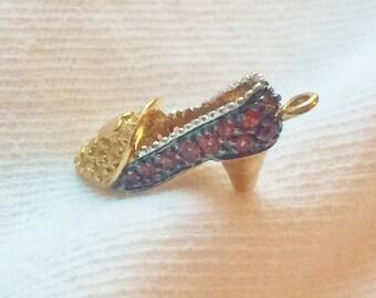 Vintage 14k Yellow Gold Ruby Gem High Heel Shoe Pendant Charm 3-D for Necklace Bracelet Estate Statement 14kt Marked 14 k kt Pump Slipper