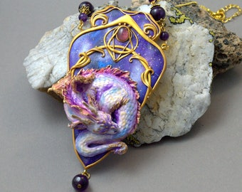 Jewelry necklace Dragon necklace Baby dragon jewelry Fantasy jewelry Amethyst pendant Polymer clay pendant