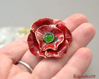 Statement jewelry brooch Poppy jewelry Flower brooch  Polymer clay jewelry Boho jewelry Poppy brooch  Red brooch Valentines Day gift
